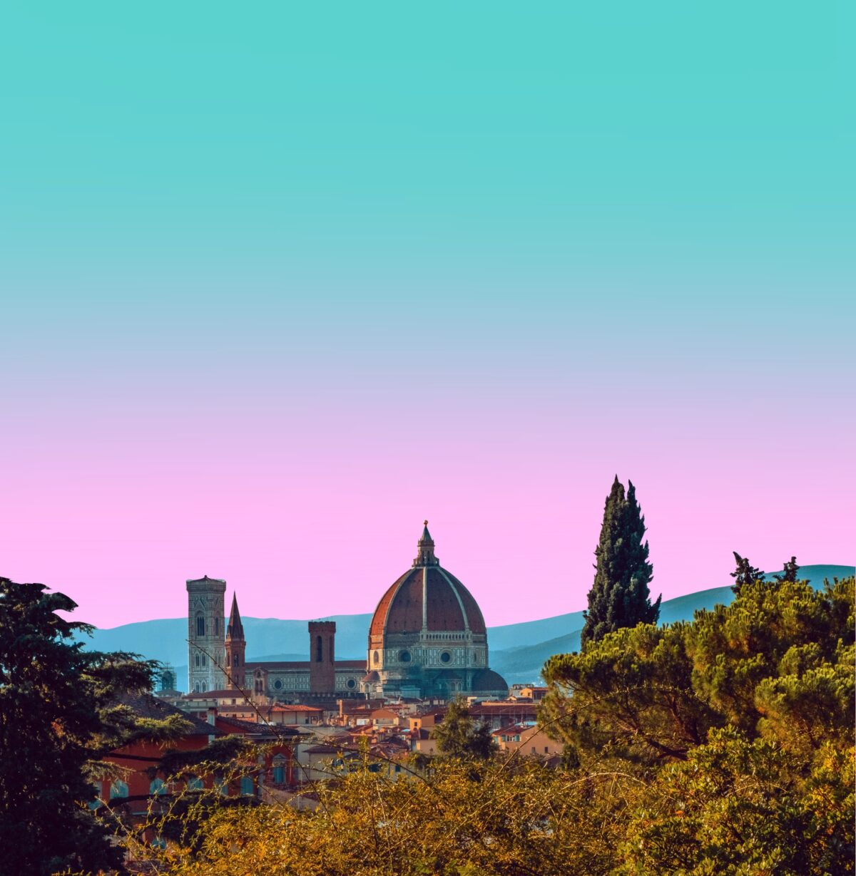 Breathtaking Gradient Landscape of The Duomo in Florence